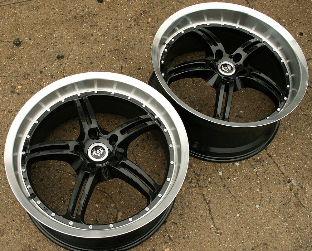 Stern Jock Face ST5 20 Black Rims Wheels Ford Mustang Staggered
