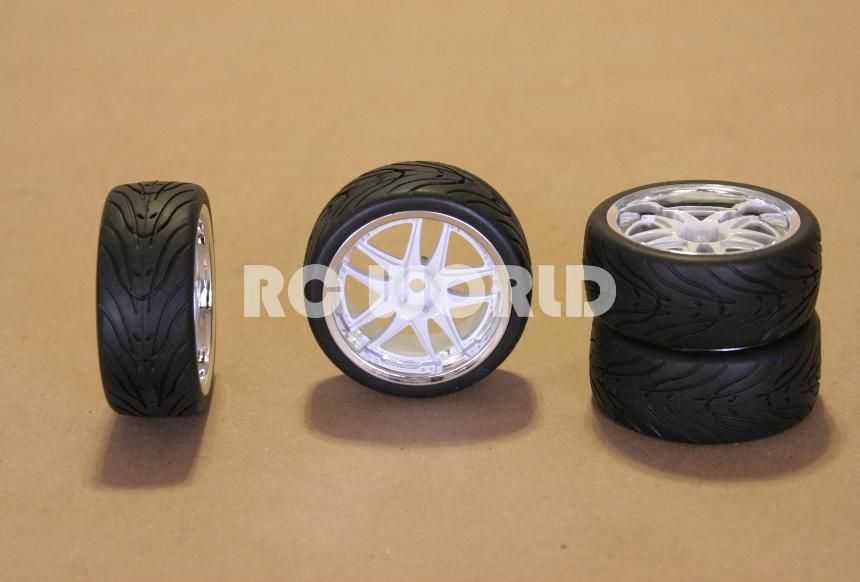 Tires White Chrome Lip Wheels Rims Package Kyosho Tamiya HPI